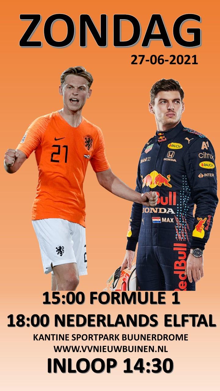 Zondag Formule 1 en Nederlands elftal
